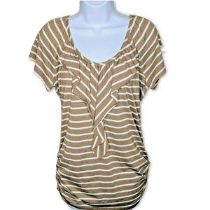 Lena Top Ruffled Neckline Toupe Striped Ruched Sm